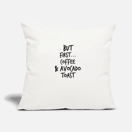 "Avocado Pillow Cases - but first - Throw Pillow Cover 18"" x 18"" natural white"