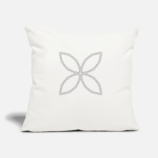 "Border Pillow Cases - Decorative Flourish Silhouette Abstract Butterfly - Throw Pillow Cover 18"" x 18"" natural white"