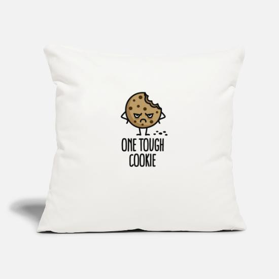 "Cookie Pillow Cases - One tough cookie - Throw Pillow Cover 18"" x 18"" natural white"