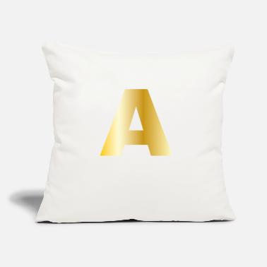 "Surname A | Letter | Gold Color Initials Surname Gift - Throw Pillow Cover 18"" x 18"""