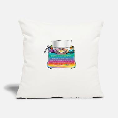 "Faster colorful antique typewriter for retro fans - Throw Pillow Cover 18"" x 18"""
