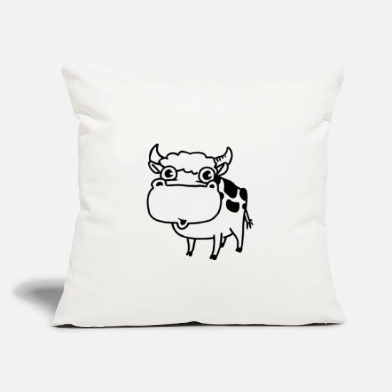"Cowbell Pillow Cases - Cow - Throw Pillow Cover 18"" x 18"" natural white"