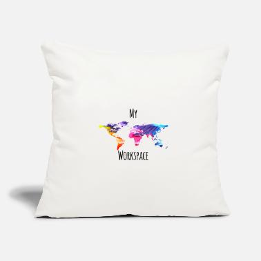 "Workspace My workspace digital nomads colorful - Throw Pillow Cover 18"" x 18"""