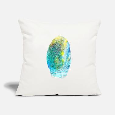 "Index Finger colorful finger print thumb index finger painter - Throw Pillow Cover 18"" x 18"""