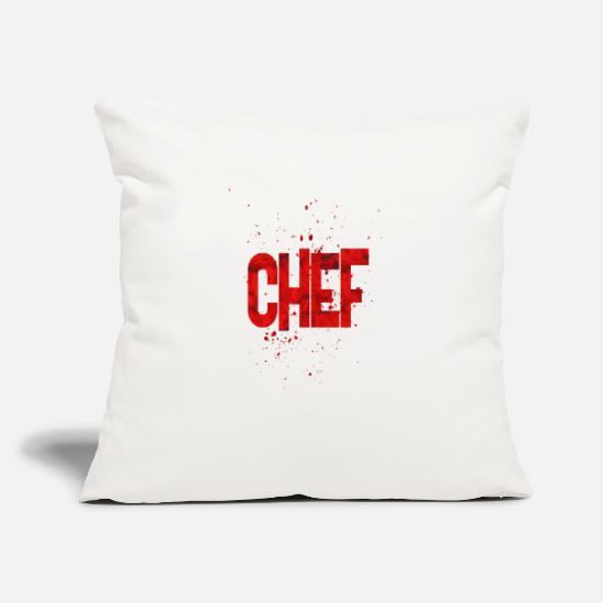 "Stupid Pillow Cases - Chef - Throw Pillow Cover 18"" x 18"" natural white"