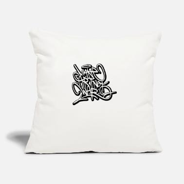 "War make art not war graffiti tags - Throw Pillow Cover 18"" x 18"""