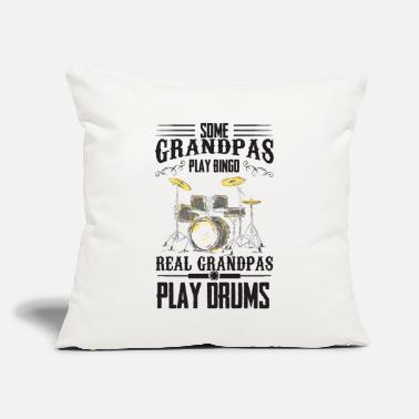 "Grandpa Drums Bingo Some grandpas play bingo - the real play drums - Throw Pillow Cover 18"" x 18"""