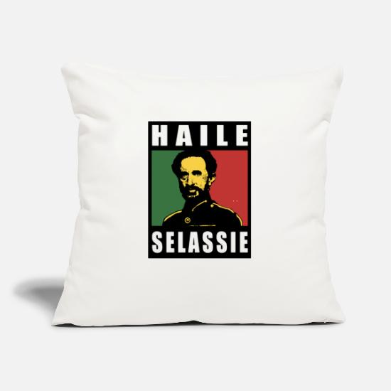 "Emperor Pillow Cases - Haile Selassie Emperor Ethiopia Rastafari - Throw Pillow Cover 18"" x 18"" natural white"