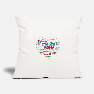"Cuore ITALY HEART ITALIA CUORE WORD CLOUD HOLIDAY (AZUR) - Throw Pillow Cover 18"" x 18"""
