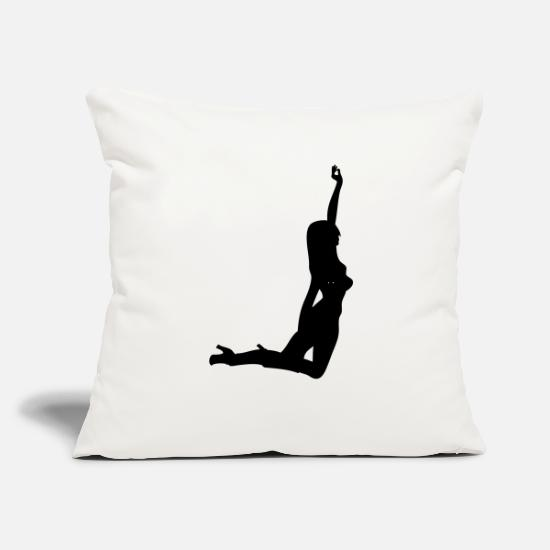 "Wife Pillow Cases - Woman body Silhouette vector design - Throw Pillow Cover 18"" x 18"" natural white"
