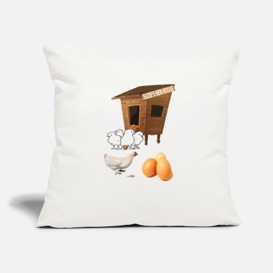 "Hen Pillow Cases - SUZIE'S HEN HOUSE - Throw Pillow Cover 18"" x 18"" natural white"