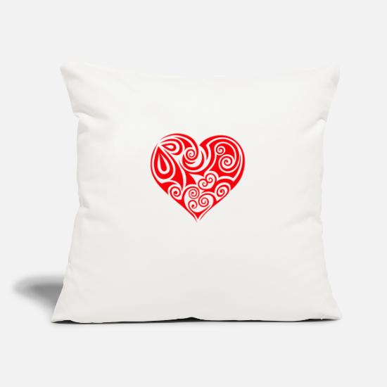"Heartily Pillow Cases - heart Herz - Throw Pillow Cover 18"" x 18"" natural white"