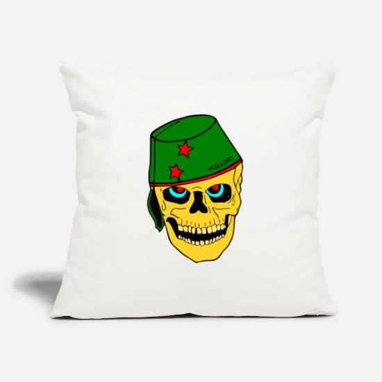 "Heat Pillow Cases - Cool Skull Face - Throw Pillow Cover 18"" x 18"" natural white"