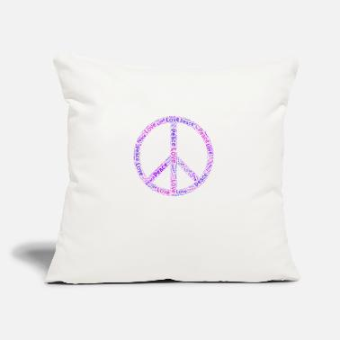 "Hippie Movement Peace Love Sign War Gift Hippie Movement War - Throw Pillow Cover 18"" x 18"""