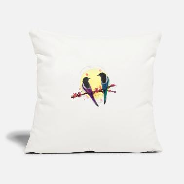 "Bird Lovely bird couple love under full moon - Throw Pillow Cover 18"" x 18"""