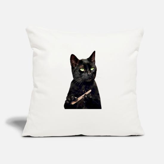 "Cat Pillow Cases - Nonplussed Black Cat Filing Nails - Throw Pillow Cover 18"" x 18"" natural white"