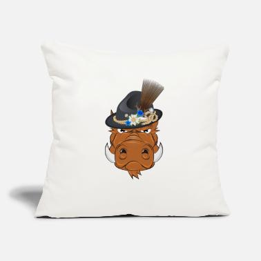 "Tradition Bavarian wild boar with traditional hat - Throw Pillow Cover 18"" x 18"""