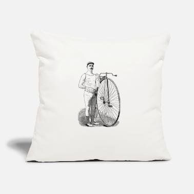"Vintage Bicyclist - Throw Pillow Cover 18"" x 18"""
