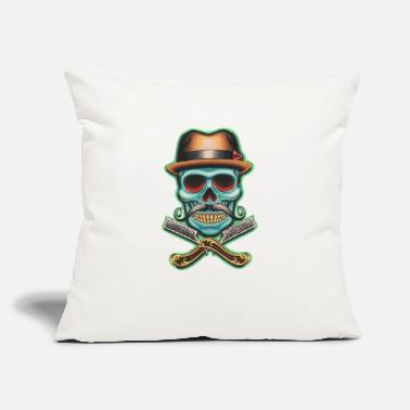 "Barber Skull - Throw Pillow Cover 18"" x 18"""