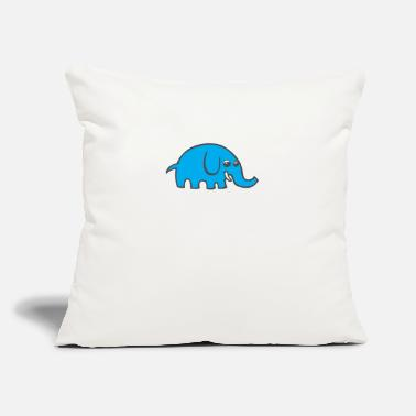 "Blue Cartoon Elephant - Throw Pillow Cover 18"" x 18"""