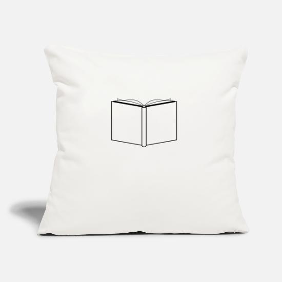 "Bookworm Pillow Cases - Book - Throw Pillow Cover 18"" x 18"" natural white"