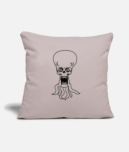 "Extraterrestrial Pillow Cases - evil ugly disgusting tentacle monster horror hallo - Throw Pillow Cover 18"" x 18"" light taupe"