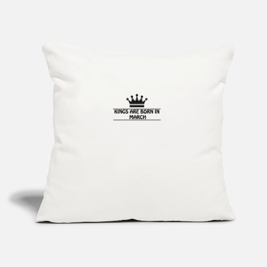 "Love Pillow Cases - Kings are born in march - Throw Pillow Cover 18"" x 18"" natural white"