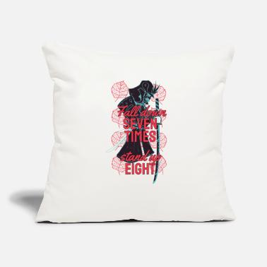 "Samurai fall down seventimes stand up eight - Throw Pillow Cover 18"" x 18"""