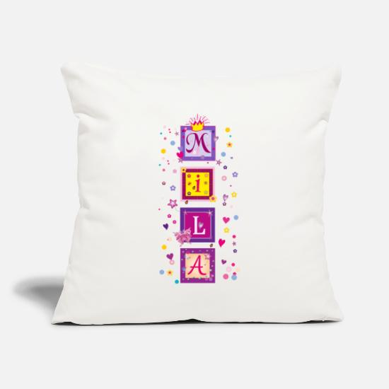 "Gift Idea Pillow Cases - Mila name - Throw Pillow Cover 18"" x 18"" natural white"
