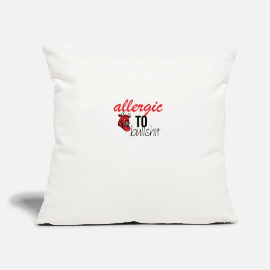 "Red Pillow Cases - Allergic to bullshit - Throw Pillow Cover 18"" x 18"" natural white"