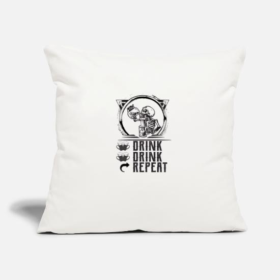 "Drinking Pillow Cases - DRINK DRINK REPEAT - Throw Pillow Cover 18"" x 18"" natural white"
