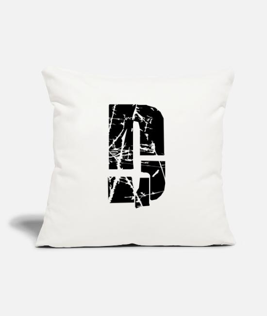"Alphabet Pillow Cases - D Letter - Throw Pillow Cover 18"" x 18"" natural white"