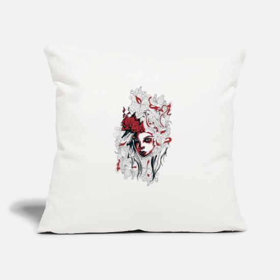 "Love Pillow Cases - Floral Girl – Illustration Of Beauty Floral Woman - Throw Pillow Cover 18"" x 18"" natural white"