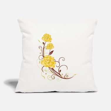 "Yellow Tendril with yellow roses and leaves - Throw Pillow Cover 18"" x 18"""