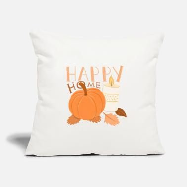 "Fall HAPPY HOME Pumpkin and Candle alight HYGGE - Throw Pillow Cover 18"" x 18"""