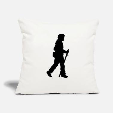 "Stick Out Walking girl with stick and flask - Throw Pillow Cover 18"" x 18"""