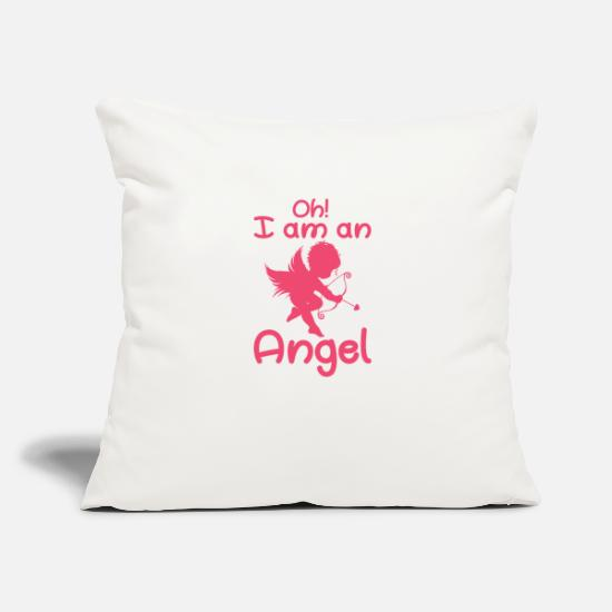 "Love Pillow Cases - Oh! I am an angel - Throw Pillow Cover 18"" x 18"" natural white"