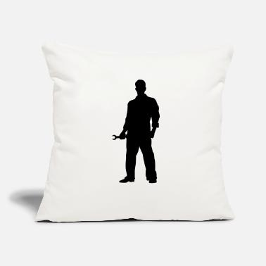 "Mechanic Silhouette - Throw Pillow Cover 18"" x 18"""
