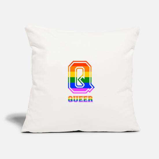 "Gay Pride Pillow Cases - Queer LGBT Gay Pride CDS Rainbow - Throw Pillow Cover 18"" x 18"" natural white"
