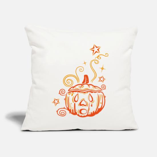"Face-plant Pillow Cases - Pumpkin Face Halloween - Throw Pillow Cover 18"" x 18"" natural white"