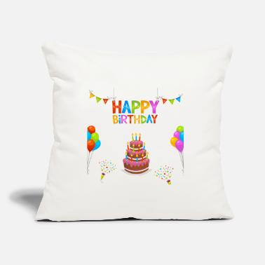 "Cake Happy Birthday Balloons Cake - Throw Pillow Cover 18"" x 18"""