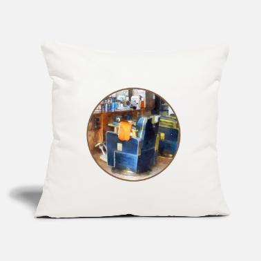 "Cape Barber Chair With Orange Barber Cape - Throw Pillow Cover 18"" x 18"""