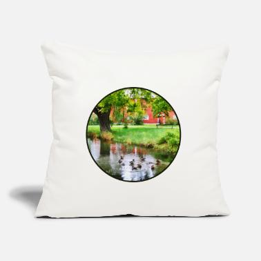 "Pond Ducks On Pond - Throw Pillow Cover 18"" x 18"""