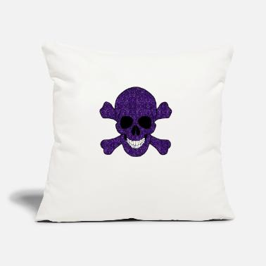 "Skull Purple Glitter Skull And Crossbones - Throw Pillow Cover 18"" x 18"""