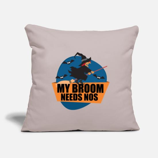 "Lover Pillow Cases - Broom Needs NOS Halloween Witch - Throw Pillow Cover 18"" x 18"" light grey"