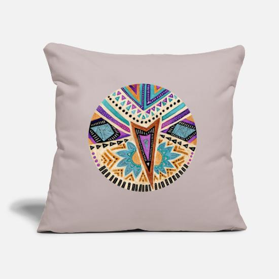 "Tribal Pillow Cases - Tribal folk icon - Throw Pillow Cover 18"" x 18"" light grey"