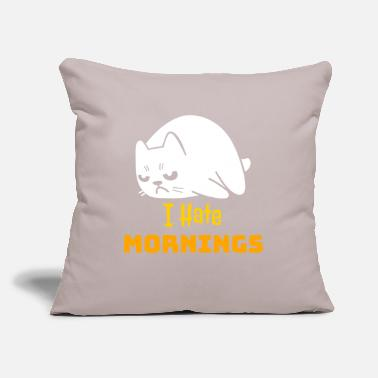 "Grumpy In The Morning Grumpy Cat - I Hate Mornings - Throw Pillow Cover 18"" x 18"""
