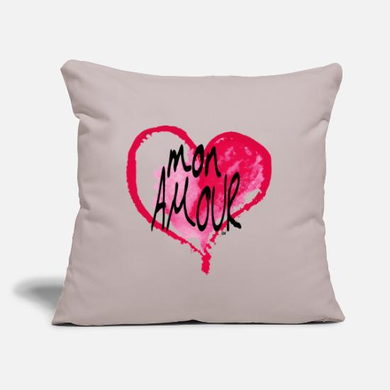 "Love Pillow Cases - Valentine's Day Mon Amour black lettering - Throw Pillow Cover 18"" x 18"" light grey"