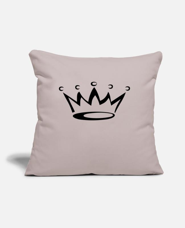 "Crown Pillow Cases - crown - Throw Pillow Cover 18"" x 18"" light taupe"