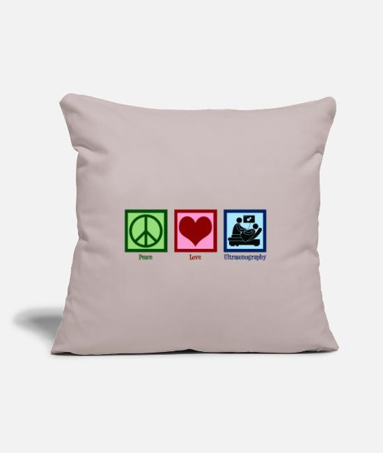 "Ultrasonography Pillow Cases - Peace Love Ultrasonography - Throw Pillow Cover 18"" x 18"" light taupe"